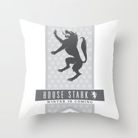 house stark Throw Pillows featuring House Stark Sigil V2 by P3RF3KT