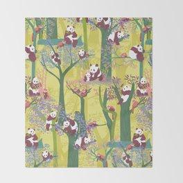 Both Species of Panda - Yellow Throw Blanket