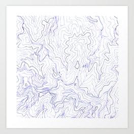 Secret places I - handmade blue map Art Print