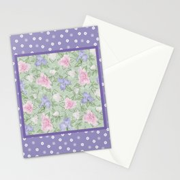 Flower Play Antique over Purple Tiny Flowers Stationery Cards