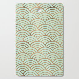 Japanese Seigaiha Wave – Mint & Copper Palette Cutting Board