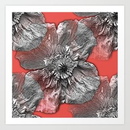 Greyscale transparent poppies on orange-pink-red background Art Print