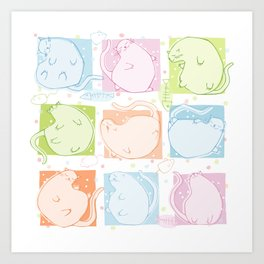 Cat Blobs Art Print