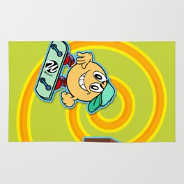Skater Cartoon Character Looping over Green Background Rug