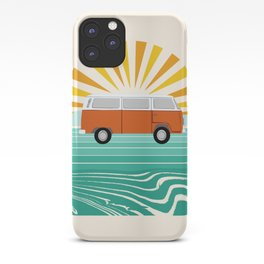 Peace, man - retro 70s hippie bus surfing socal california minimal 1970's style vibes iPhone Case