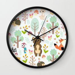 cute forest animals Wall Clock