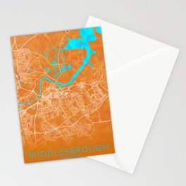 Middlesbrough, England, Gold, Blue, City, Map Stationery Cards