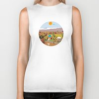 arab Biker Tanks featuring Peaceful Arab village In the desert by Design4u Studio