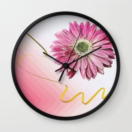pink gerbera daisy with ribbon Wall Clock