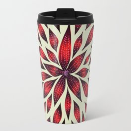 Abstract Red Flower Doodle Travel Mug