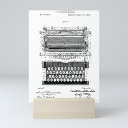 Typewriter old patent vintage illustration Mini Art Print