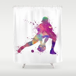 Baseball Girl Catcher Colorful Purple Watercolor Shower Curtain