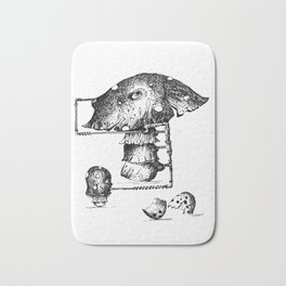 Funy Mushroom Mother Breastfeeding Her Newborn Daughter After Exiting The Egg Grphc Bath Mat