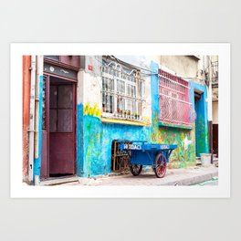 """Travel Photography """"colorful street photography taken in Balat, Istanbul"""" with blue and pink colors. Abstract fine art photo print.  Art Print"""