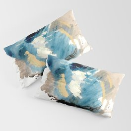 You are an Ocean - abstract India Ink & Acrylic in blue, gray, brown, black and white Pillow Sham