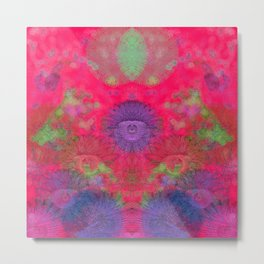 Composition of floreal pattern on red background Metal Print