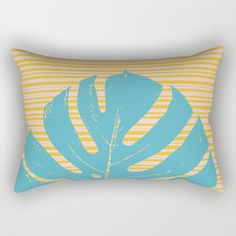 Monstera in Turquoise and Gold Rectangular Pillow