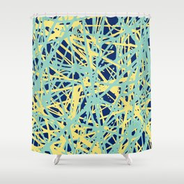 Daisy Scribble Navy, Mint and Lemon Shower Curtain