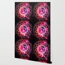 Ohm Mandala : Galaxy Mandala Red Fuchsia Pink Wallpaper