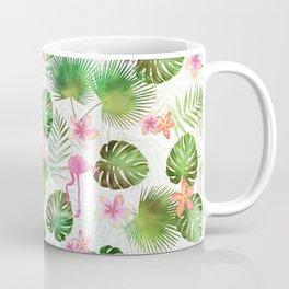 Stylish foliage and flamingo birds tropical motif design Coffee Mug
