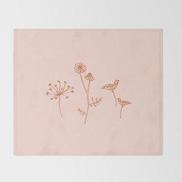 Wildflower Line Art Throw Blanket