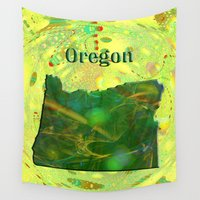 oregon Wall Tapestries featuring Oregon Map by Roger Wedegis