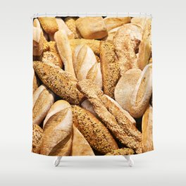 Bread baking rolls and croissants Shower Curtain