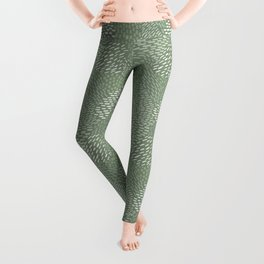Brush Strokes Abstract Pattern, Sage & Olive Green Leggings