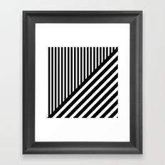 Black and White Diagonal Stripes Framed Art Print