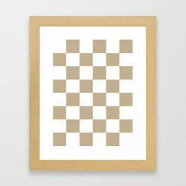 Large Checkered - White and Khaki Brown Framed Art Print