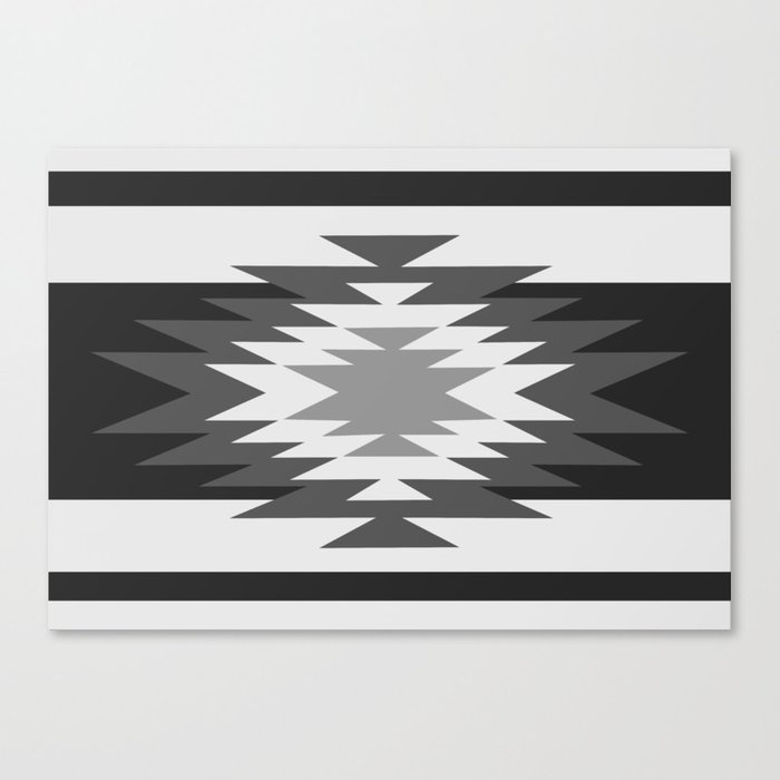 Aztec - black and white Canvas Print