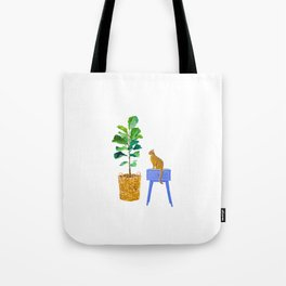 Fiddle Leaf Fig and Cat Tote Bag