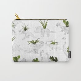 Dino and Cacti on White Carry-All Pouch