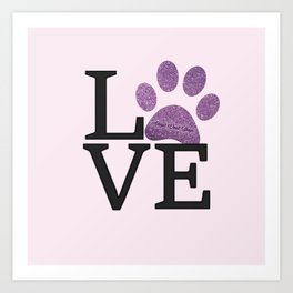 Love is a Four Letter Word - purple paw Art Print