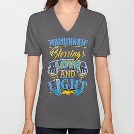Hanukkah Blessings Love and Light Unisex V-Neck