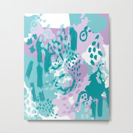 Riley - modern abstract trendy color palette nursery art decor lilac turquoise happy painting Metal Print