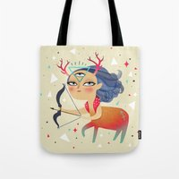 sagittarius Tote Bags featuring Sagittarius by Ana Varela