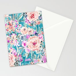 WAHINE WAYS Aqua Tropical Floral Stationery Cards