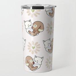 Vector cute cat dog hug hearts Seamless repeat pattern Travel Mug