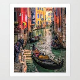 Gondolas at Sunset Art Print