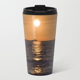 Summersunset with Boat - Warnemuende - Baltic Sea Travel Mug