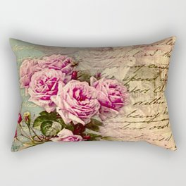 French country chic, rustic, collage, roses,vintage parchment,victorian,belle époque Rectangular Pillow