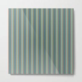 Retro Stripes Green and Orange Metal Print