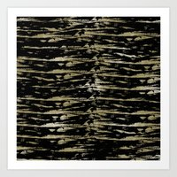 Chic Gold Black Abstract Art Print