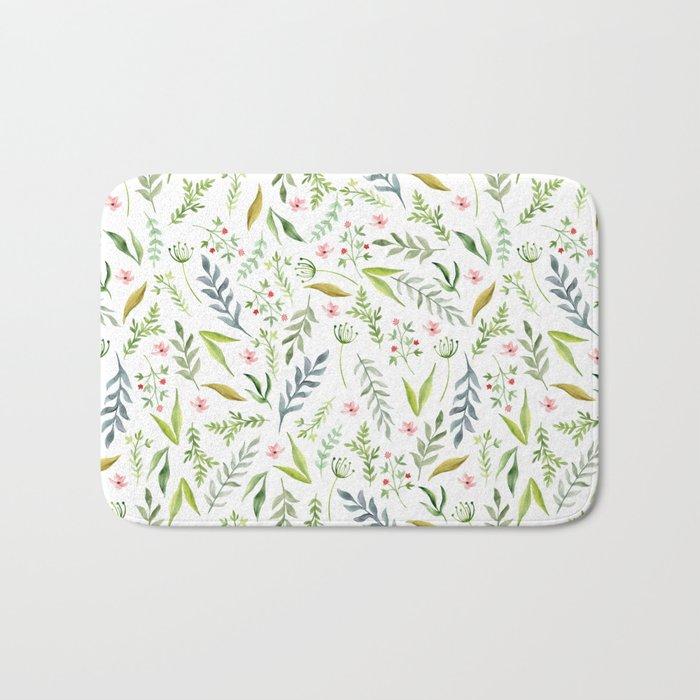 Leaf pattern. Watercolor Bath Mat