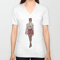 moschino V-neck T-shirts featuring Moschino fashion illustration roses  by Cinnamoncafexx