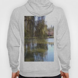 Old Weeping Willow Tree Standing Next To Pond Hoody