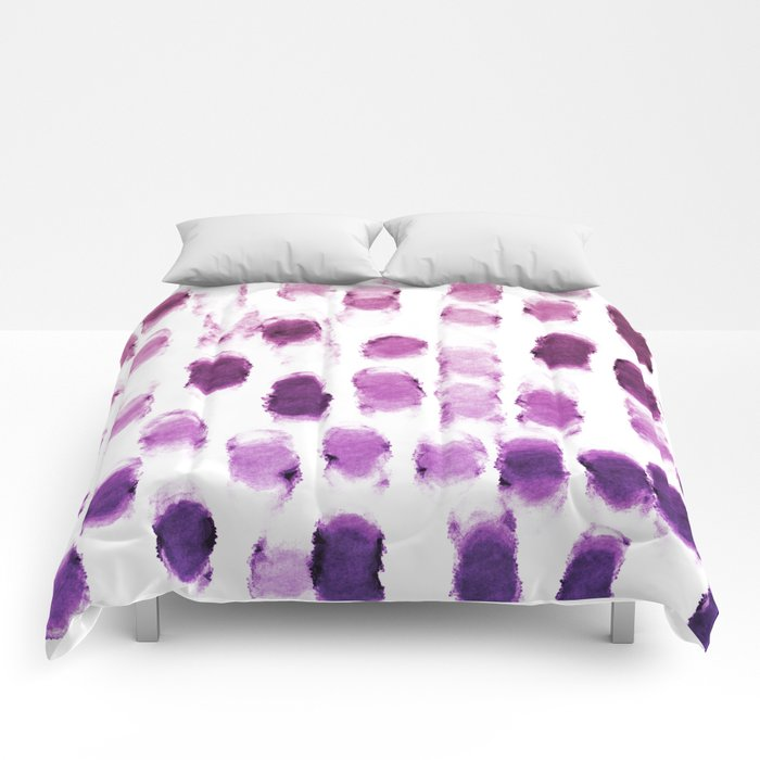 Purple Watercolor Brush Strokes Pattern Comforters