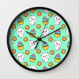 Cute happy funny Kawaii pink baby kittens, yummy colorful cupcakes and chocolate chip cookies cartoon light pastel teal green pattern design. Nursery decor ideas.  Wall Clock