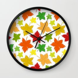 Maple Leaves - Autumn Pattern Wall Clock